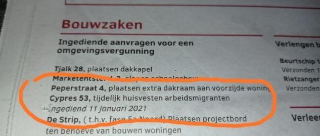 """VVD wil stop op uitbreiding """"Huisvesting Arbeidsmigranten"""" in woonwijken."""